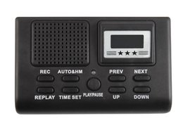 Wholesale Mini Display Box - Wholesale-Professional Mini Telephone Recorder Box Digital Voice Recorder Dictaphone Phone Logger MP3 Player LCD Display + Clock Function