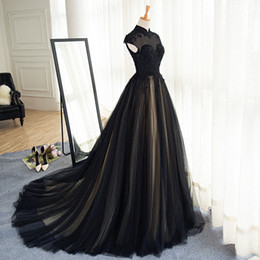 Wholesale Modern Gothic Dress - Gothic Black Wedding Dresses Champagne Lining High Neck Lace Appliques Capped Sleeves Zipper up Sweep Train Wedding Dress Cheap Bridal Gown