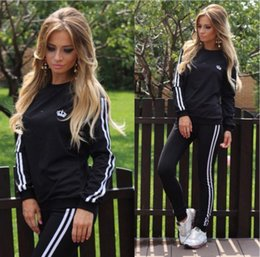 Wholesale Female Ski Suit - Leisure Sports Clothing Lady Sportswear Women Suit Set 2017 Fashion Female Girls Clothes Girls Long-Sleeved Casual Suit ouc072
