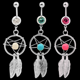Wholesale Ring Dream Catcher - Body Jewelry Crystal Gem Dream Catcher Navel Dangle Belly Barbell Button Bar Ring Body piercing Art 06PB