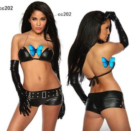 Wholesale Woman Leather Lingerie Gloves - EXOTIC Sexy Lingerie Women Hen PVC lace up Fancy Dress BabyDoll Clubwear Costume & gloves CC202 S-L