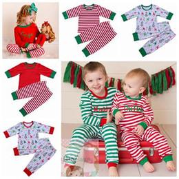 Wholesale Girls Striped Pyjamas - 2017 fall winter pajamas children family matching pajamas kids christmas outfit red green pyjamas sleepwear stripe pijama sets girl boys pjs