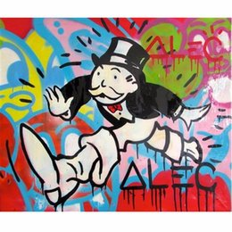 Wholesale Modern Graffiti Art - Framed genuine Handpainted modern abstract Alec Monopoly Running cartoon Graffiti Pop Art Oil Painting High Quality Canvas,Multi Sizes TY004