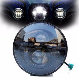 Wholesale Led Projector Light Bulb - DOT E9 Mark 7 Inch Black Chrome Projector Daymaker HID LED Light Bulb Headlight Harley Daymaker LED Projection Headlight for Harley Davidson