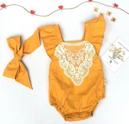 Wholesale Triangle Jumpsuit - Retail 2017 New Fashion Baby Girl onesies Bodysuits Triangle Lace Yellow Jumpsuit Overalls Toddler Clothing 0-2T 1609 Have Headband