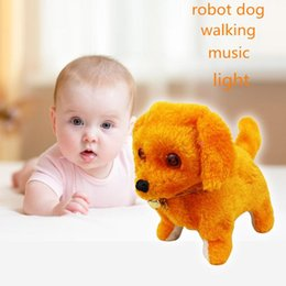 Wholesale Electronic Puppy - Wholesale- Newest Hot Sale Yellow Pink Robotic Cute Electronic Walking Pet Dog Puppy Novelty Interesting Toys With Music Light Dropshipping