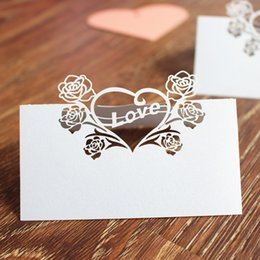Wholesale Rose Topper - Wedding table centerpieces laser cut rose love table card wed Party place card holder name card multi Color Free Ship