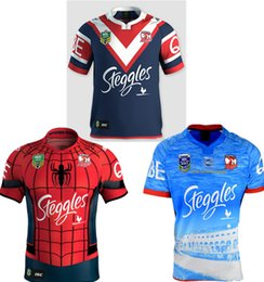Wholesale Spider Man Top - 2017 Sydney Roosters rugby jerseys men 9S rugby shirts Spider Man jerseys home jerseys top quality Roosters shirts size S-3XL Free shipping