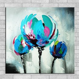 Wholesale Tulip Canvas - 100% Hand made promotion bloom blue Flowers canvas painting Abstract blue tulip Oil Painting on canvas landscape Home Decor