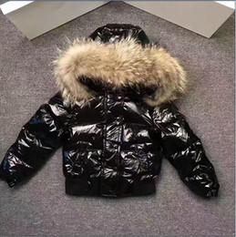 Wholesale Kids Red Coats - ME17 Kid snow Suit Boys girls jacket Pants waterproof real raccoon fur collar outwear winter french warm snow coat children parka