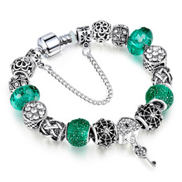 Wholesale Glass Bead Bracelets For Women - European Silver Bracelet Allow Silver Plated Bead With Green Crystal Charm Bracelet With Luxury Glass Beads for Women Jewelry AA114