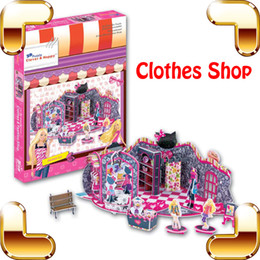 Wholesale Building Clothes - New DIY Gift Clothes Shop 3D Puzzles Model Cartoon Character Building Puzzle Fashion Dressing House For Girls Decoration Model