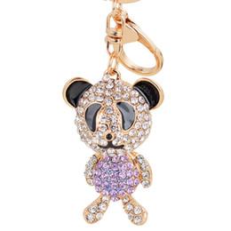 Wholesale Panda Pendant White Gold - Bling Bling Crystal Rhinestone Panda Metal Keychain Keyring Car Keychains Purse Charms Handbag Pendant Wedding Gift