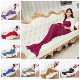 Wholesale Handmade Baby Costumes - Mermaid Blankets Baby Mermaid Tail Blankets Crochet Handmade Blanket Knit Air Condition Sleeping Bag Sofa Nap Blankets Costume 140*70 J335