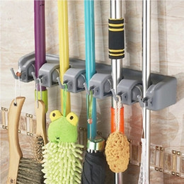 Wholesale Wall Mount Broom Rack - Wall Mounted Storage Mop Holder Brush Broom Hanger Storage Rack Kitchen Organizer With Mounted Accessory Hanging Cleaning Tools 13jj J R