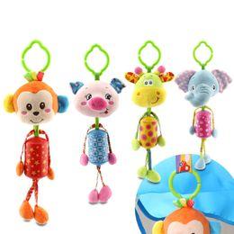 Wholesale Monkey Bedding - Wholesale- Cute Soft Rattles Bed Crib Stroller Kids Stuffed Toys Monkey Giraffe Elephant Lion Hanging Bell Shake Ring Toy D008