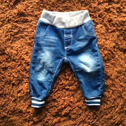 Wholesale Kids Denim Jeans Boys - Baby Boys Jeans Long Denim Solid Standard Elastic Waist Striped Pocket Jeans Spring Children Kids Clothing
