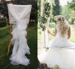 Wholesale Spandex Ruffle Chair Covers - 2018 Organza Ruffles Chair Sash for Weddings Ivory Wedding Decorations Chair Covers Chair Sashes Wedding Accessories