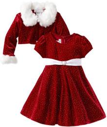 Wholesale Dot Tutu Dress Suits - Baby Girls' Stretch Velvet Santa Dress Red suit New Year red dress coats for girls fur collar jacket dress suit girls kids clothing 2043