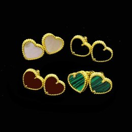 Wholesale Malachite Gold Earrings - Fashion earring accessories factory directly batch fine copper plated hearts of hearts of the shell agate malachite ear nails