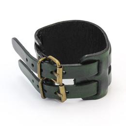Wholesale Synthetic Leather For Bracelets - Wholesale- 2016 Hot Sale Cool Men 2 Layer Punk Belt Synthetic Leather Alloy Bracelet Wristband Bangle For Men