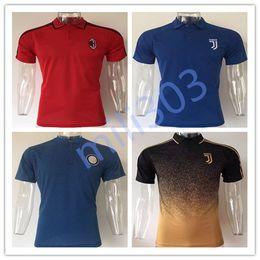 Wholesale Polo Man Shirt - 2017 2018 AC Milan Soccer Polo Shirt 17 18 Italy Inter JUVE Rome Football Polos Short Sleeve adult Sport Polo Training shirt free shipping