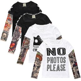 Wholesale Baby Girl Tattoos - Fashion Tattoo Baby Boy T-Shirts 100% Cotton Girls Tee Shirts Hip Pop Kids Clothes Children Jersey Tops Long Sleeve Sweatshirts Blouses