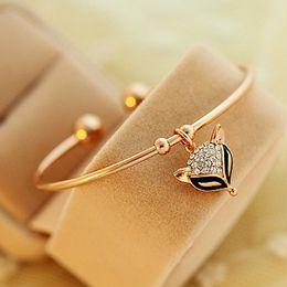 Wholesale Crystal Gold Fox - Lovely Crystal Fox Charm Bracelets Gold Plated Open Rhinestone Diamond Cute Fox Bangle Bracelets For Women and Men Jewelry