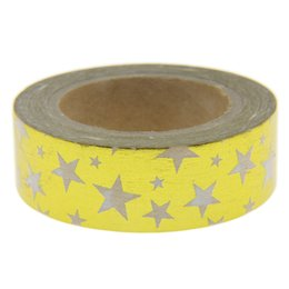 Wholesale Tools Scrap - Wholesale- 2016 Golden Star Foil 10m*1.5cm Length Masking Tape Kawaii Scrapbooking Tools Japanese Stationery Fita Adesiva Decorativa Scrap