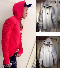 Wholesale Combat Hoodie - High Quality Hip Hop Hooded Sweatshrit Mens Draped Sleeve Oversized Side Zip Hoodie Army Air Force Combat Red Black White