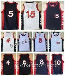 Wholesale Purple Gold Hills - Men Basketball Retro Usa 3 #4 BARKLEY #5 HILL #6 HARDAWAY #8 PIPPEN #10 MILLER #15 OLAJUWON White Blue jerseys Stitched With Name