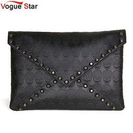 Wholesale Envelope Clutch Skull - Wholesale-Vogue Star New 2016 Fashion Korean Designer Rivet Envelope Single Women Bags Skull Clutch Crossbody Punk Brand Handbags YA40-20