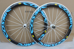 Wholesale Aluminum Road Wheelset - Super light alloy brake surface wheels 50mm road bike carbon alloy wheels blue carbon aluminum wheelset