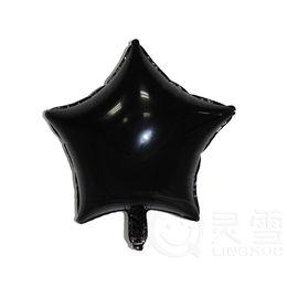 Wholesale Black Ballons - 50pcs lot 18inch Black Five-Point Star foil Balloons Helium Metallic Pure Color Ballons Wedding Birthday Party Decor