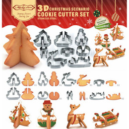 Wholesale Christmas Cutters - 8pcs 3D Christmas Scenario Cookies Cutter Mold Set Decoration Stainless Steel Cutter Cookie Fondant Cake Mould