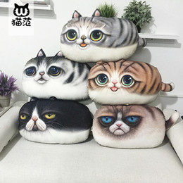 2017 chat de napping 55 * 32CM Creative 3D Cartoon oreiller décoratif oreiller Cat Coussins Cat Nap Coussin Coussin Home Seat Canapé Décor Coussin Couverture Cartoon LC439-1 promotion chat de napping
