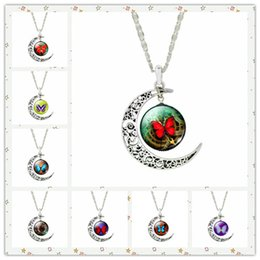 Wholesale Butterfly Specimens - New Fashion Vintage Butterfly Specimens Glass Necklaces Moon Gemstone Women Men Pendant Necklaces Hollow Carved Mix Color Jewelry Styles