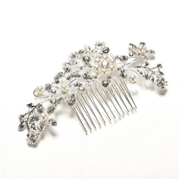Wholesale Wedding Floral Tiara - Headwear Floral Wedding Tiara Sparkling Silver Plated Crystal Simulated Pearl Bridal Hair Combs Hairpin Jewelry Hair Accessories