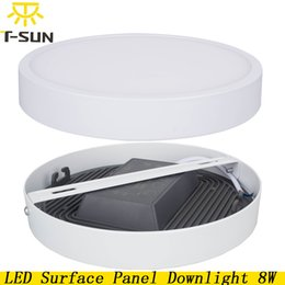 Wholesale Flat Panel Plate - Wholesale- New Design LED Panel Light Surface Mounted 8W 4014 SMD Aluminum Plate LED Flat Lamp Round LED Ceiling Recessed Lamp AC85V-265V
