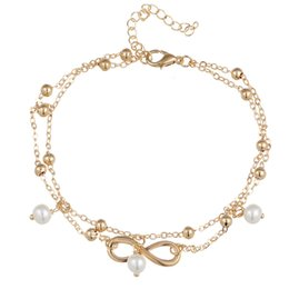 Wholesale Handmade Barefoot Sandals - Rushed Women Alloy European And American Fashion Jewelry for barefoot sandals Handmade Beaded Anklets Selling 8 Double Personality body