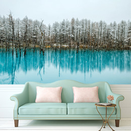 Wholesale Pine Tree Wall Decor - Wall Painting Custom Any Size Large Wallpaper for Living Room Lake water with Pine Trees Art Photography Europe Mural Home Decor