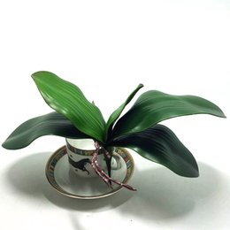 Wholesale Artificial Orchid Arrangement - Wholesale-2016 new Artificial flower Orchid leaveshigh quality PU gluing texture leaves DIY potted flower arrangements