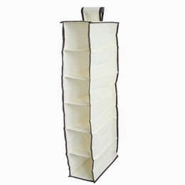 Wholesale Toy Shipping Containers - Storage Hanging Bags Non woven Multi Lattices Container Beige Durable Accessory Shelves Plush Toys Clothes Organizer Free Shipping 5 5zn D R