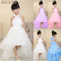 Wholesale New Girls Pagent Dresses - TOP Quality 2016 New Sleeveless flower girl dresses For Wedding prom Party beads princess Pagent dress Children Birthday kids