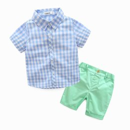 Wholesale Boys Outfits Sets - 2017 Summer New Boy Sets Plaid Short Sleeve Shirts + Shorts Two Piece Fashion Outfits Children Clothing 3-7Y TZ991