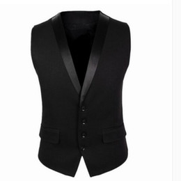 Wholesale Hot Mens Suit Dress - Wholesale- New Fashion British Style Mens V-Collar Business Dress Tops Slim Fit Lapel Formal Waistcoat Vest Suit Hot Black Free Shipping