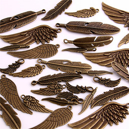 Wholesale Metal Feather Pendants Charms - 30pcs Vintage Bronze Metal Small Wings & Feather Charms for Jewelry Making Diy Zinc Alloy Mix Wings Feather Pendant Charms H3004