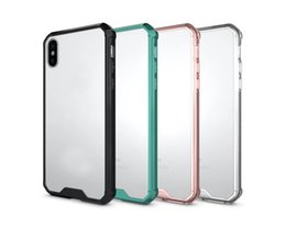 Wholesale Crystal Cell Phone Skins - Hybrid Shockproof Acrylic Case For Iphone 8 8G 8th Iphone8 I8 Hard Plastic+Soft TPU Clear Crystal Dual Rose Gold Gel Cell PHone Skin Cover