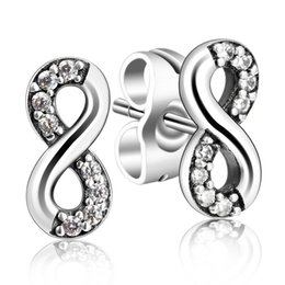 Wholesale Shell Pearls Stud - Authentic 925 Sterling Silver Indefinite Symbol CZ Cubic Zirconia Ear Stud Earring