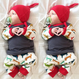 Wholesale T Shat - Christmas Outfits Three pieces Baby Girls Cotton Jumper T-shits with Deer Pants with caps 2017 Baby Autumn Clothing